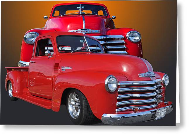 Red Chev Greeting Cards - Old Chev Greeting Card by Jim  Hatch