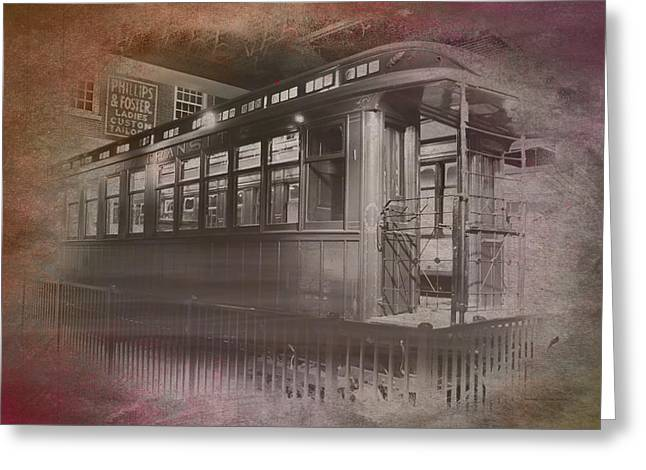 Old Chicago 06 Trains Textured Greeting Card by Thomas Woolworth