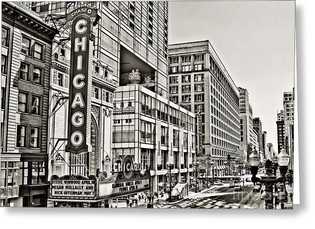 Chi Town Greeting Cards - Old Chicago Theatre Greeting Card by Emily Kay
