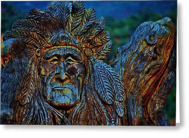 Wood Carving Photographs Greeting Cards - Old Chief Greeting Card by Helen Carson