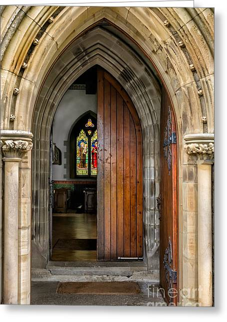 Stepping Stones Greeting Cards - Old Church Entrance Greeting Card by Adrian Evans