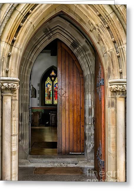 Catholic Digital Greeting Cards - Old Church Entrance Greeting Card by Adrian Evans
