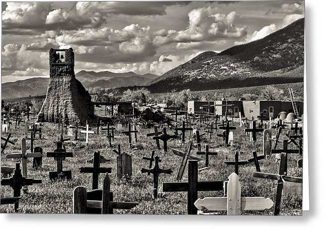 Southwest Church Greeting Cards - Old Church Taos Pueblo Greeting Card by Lou  Novick