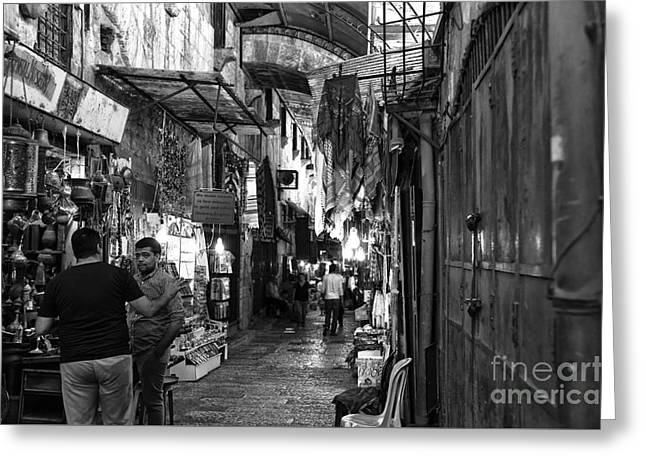 Old City Prints Greeting Cards - Old City Bartering Greeting Card by John Rizzuto