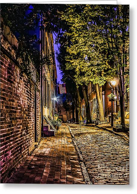 Philadelphia Alley Greeting Cards - Old City Street at Night Greeting Card by Nick Zelinsky