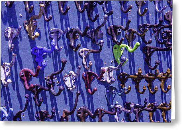 Hardware Greeting Cards - Old Clothes Hooks Greeting Card by Garry Gay