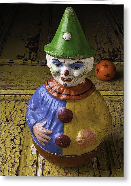 Clown Greeting Cards - Old Clown And Ball Greeting Card by Garry Gay