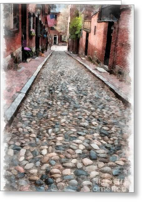 Brick Buildings Greeting Cards - Old Cobblestone Streets of Boston Greeting Card by Edward Fielding