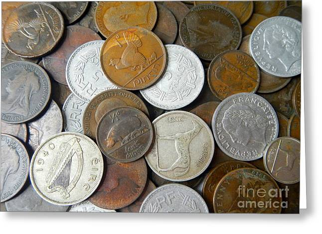 Coins Greeting Cards - Old Coins Greeting Card by Loreta Mickiene