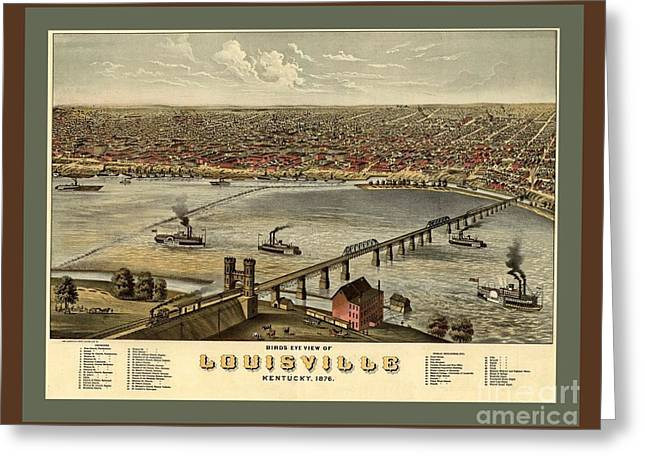 Old Collectable Poster Map Of Louisville Kentucky Greeting Card by Pd