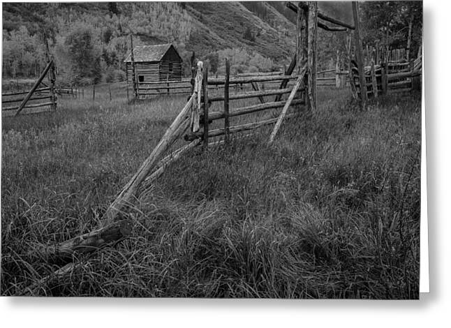 Old Barns Pyrography Greeting Cards - Old Corral and Barn BW Greeting Card by Rick Strobaugh