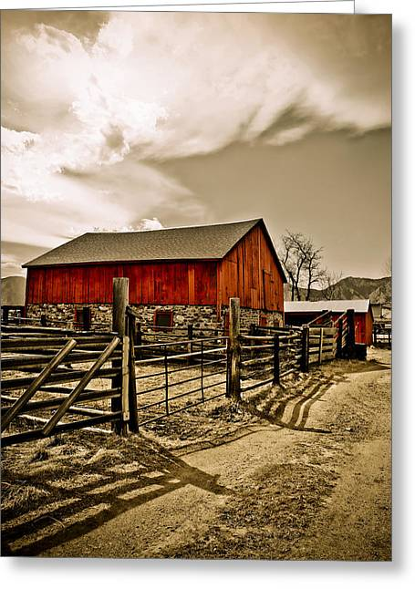 Old Country Farm Greeting Card by Marilyn Hunt