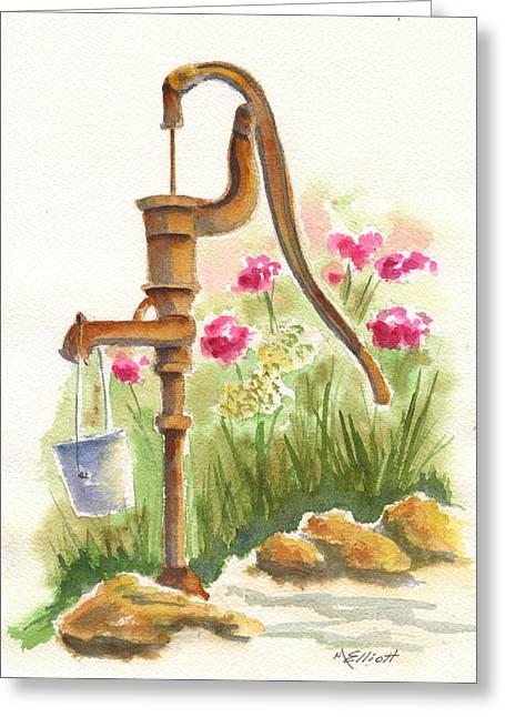 Old Country Pump Greeting Card by Marsha Elliott