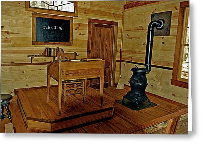 Desk Mixed Media Greeting Cards - Old Country School Room Greeting Card by Ralph  Perdomo