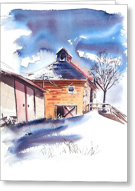 Country Schools Mixed Media Greeting Cards - Old country School Snowdrift Greeting Card by Harley Harp