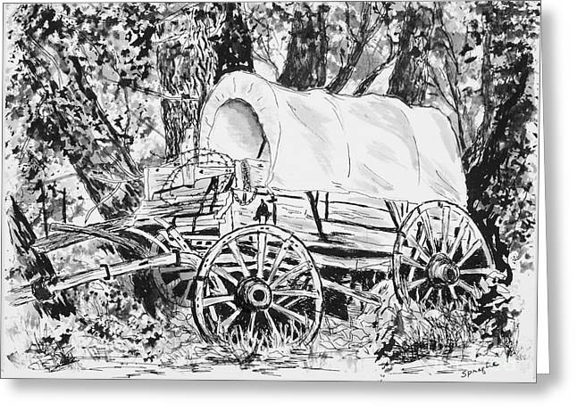 Wagon Wheels Drawings Greeting Cards - Old Covered Wagon Greeting Card by Judy Sprague