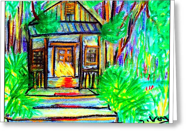 Blue Green Water Pastels Greeting Cards - Cracker Shack Greeting Card by W Gilroy