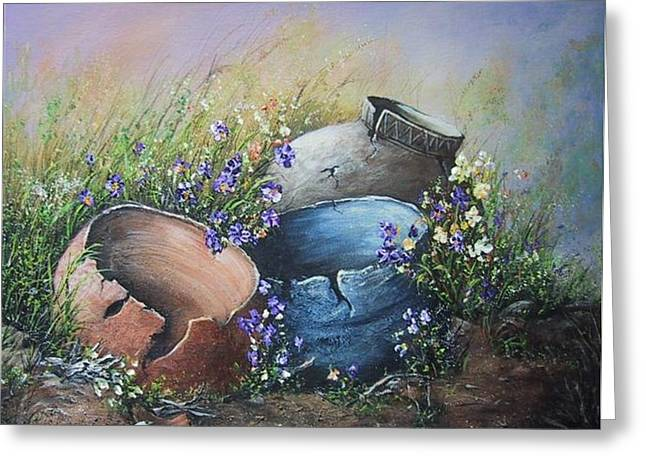 Old Crocks Greeting Card by Theresa Jefferson