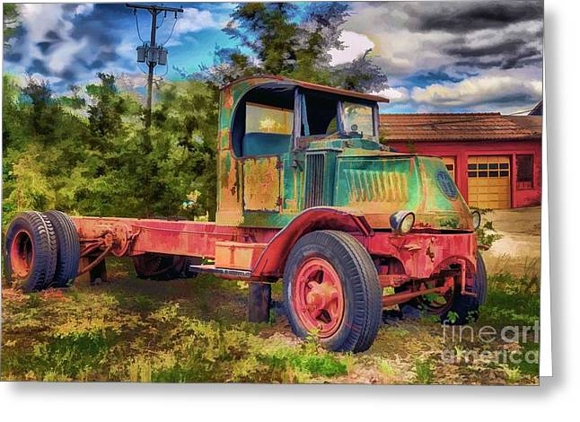 Old Trucks Greeting Cards - Old Delivery Truck Greeting Card by Arnie Goldstein