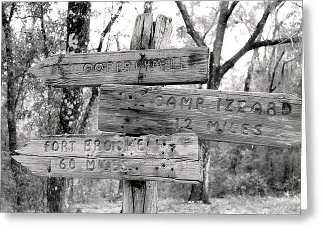 Old Directional Signs At Fort Cooper  Greeting Card by Debra Forand