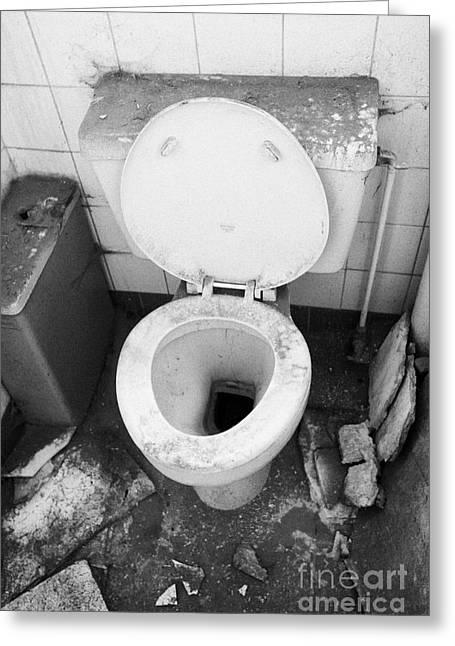 Unclean Greeting Cards - Old Dirt Covered Toilet In An Old Factory Warehouse Unit Belfast Northern Ireland Uk Greeting Card by Joe Fox