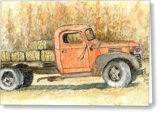 Pen Greeting Cards - Old Dodge Truck in Autumn Greeting Card by David King