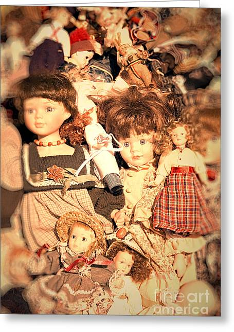 80s Greeting Cards - Old Dolls in Flea Market Greeting Card by A Cappellari