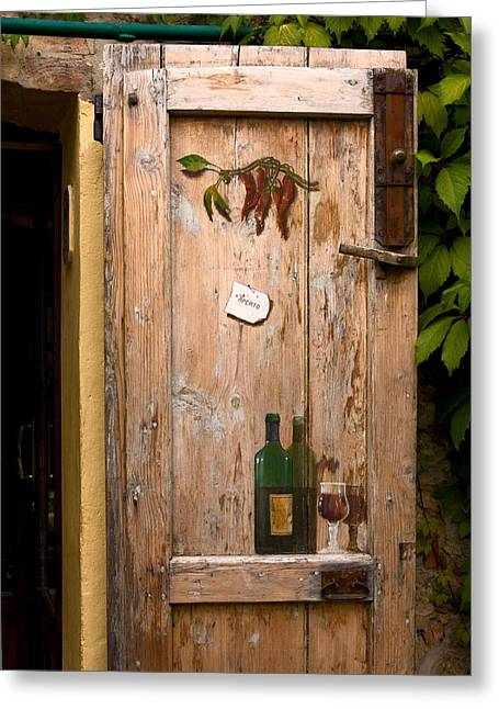 T-ita131 Greeting Cards - Old Door and Wine Greeting Card by Sally Weigand