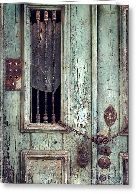 Run Down Greeting Cards - Old Door Detail Greeting Card by Carlos Caetano