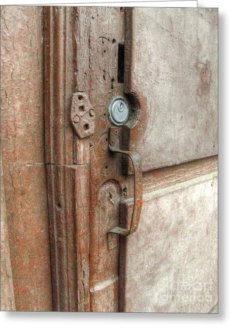 Old Door Pyrography Greeting Cards - Old Door Element Greeting Card by Yury Bashkin