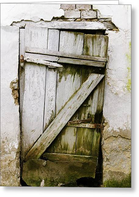 Nailed Shut Greeting Cards - Old door Greeting Card by FL collection