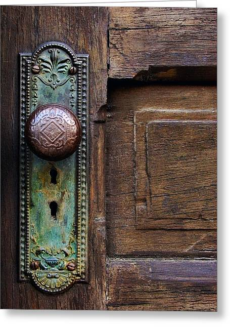Old Doors Greeting Cards - Old Door Knob Greeting Card by Joanne Coyle