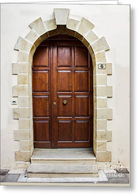 Entrance Door Pyrography Greeting Cards - Old Door Greeting Card by Fineart Photographs