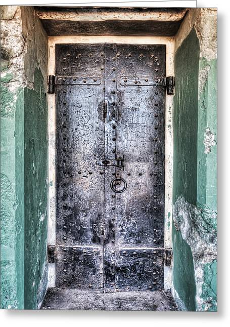 Old Door Greeting Cards - Old Door that Enters Battery Mendell at Fort Barry - California Greeting Card by Jennifer Rondinelli Reilly