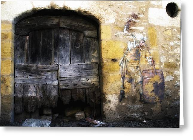 Old Door Print Greeting Cards - Old Door with Street Art Greeting Card by Nomad Art And  Design