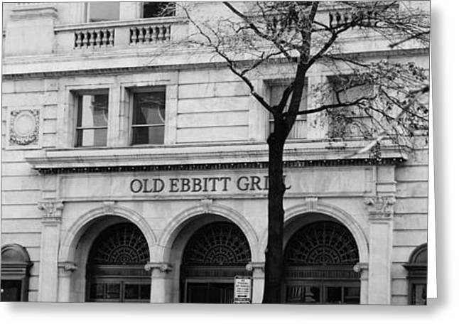 Streetlight Greeting Cards - Old Ebbitt Grill Black and White Greeting Card by Marina McLain