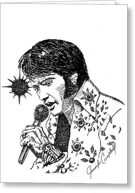 Old Tv Drawings Greeting Cards - Old Elvis Greeting Card by Jennifer Campbell Brewer
