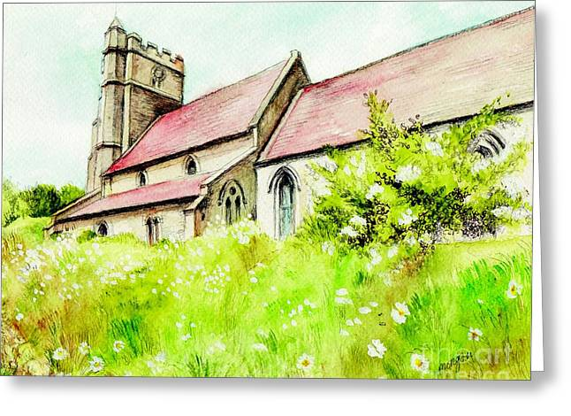 Country Church Mixed Media Greeting Cards - Old English Country Church Greeting Card by Morgan Fitzsimons