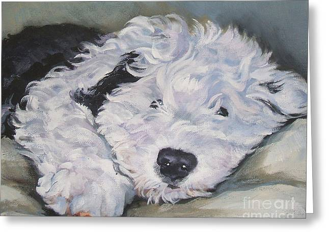 Old Dogs Greeting Cards - Old English Sheepdog Pup Greeting Card by Lee Ann Shepard