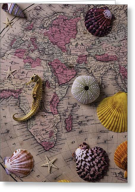 Old Objects Photographs Greeting Cards - Old Europe Map With Shells Greeting Card by Garry Gay