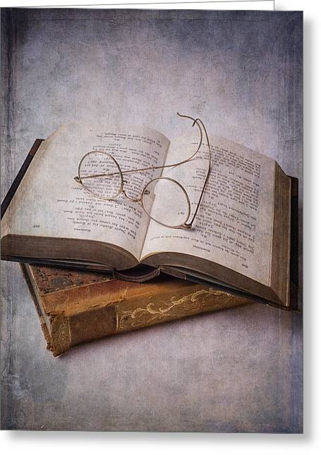 Books Greeting Cards - Old Eyeglasses And Books Greeting Card by Garry Gay