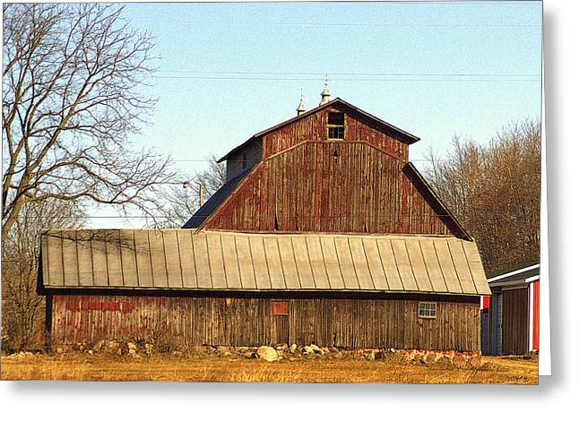 Outbuildings Greeting Cards - Old Faded Red Hip Roof Barn And Out Buildings Greeting Card by Rosemarie E Seppala