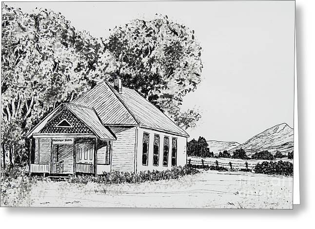 Old School House Drawings Greeting Cards - Old Fairview School House Greeting Card by Judy Sprague