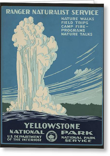 National Park Service Greeting Cards - Old Faithful At Yellowstone Greeting Card by Unknown