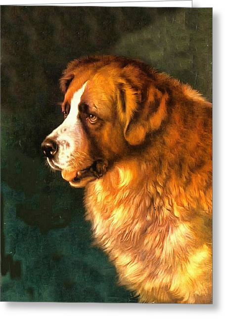Dogs Digital Greeting Cards - Old Faithful Greeting Card by Charmaine Zoe