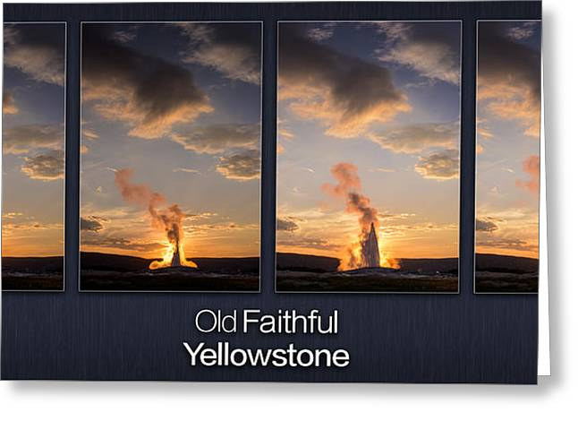 Old Faithful Geyser Greeting Cards - Old Faithful Geyser Greeting Card by Steve Gadomski