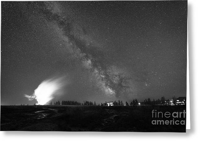 Super Volcano Greeting Cards - Old Faithful Milky Way Eruption BW Greeting Card by Michael Ver Sprill