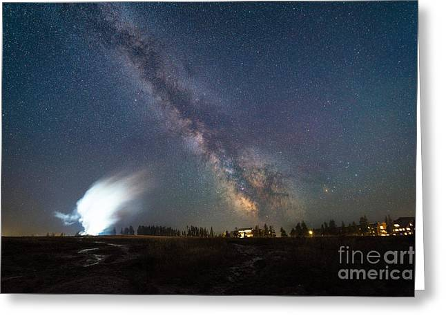 Super Volcano Greeting Cards - Old Faithful Milky Way Eruption  Greeting Card by Michael Ver Sprill