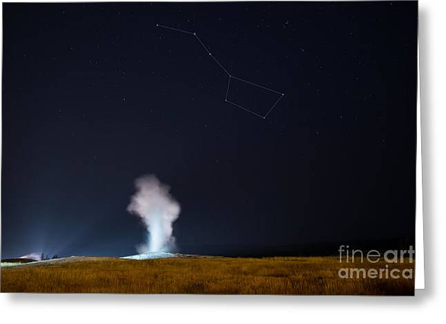 Old Faithful Night Eruption Under The Big Dipper Greeting Card by Michael Ver Sprill