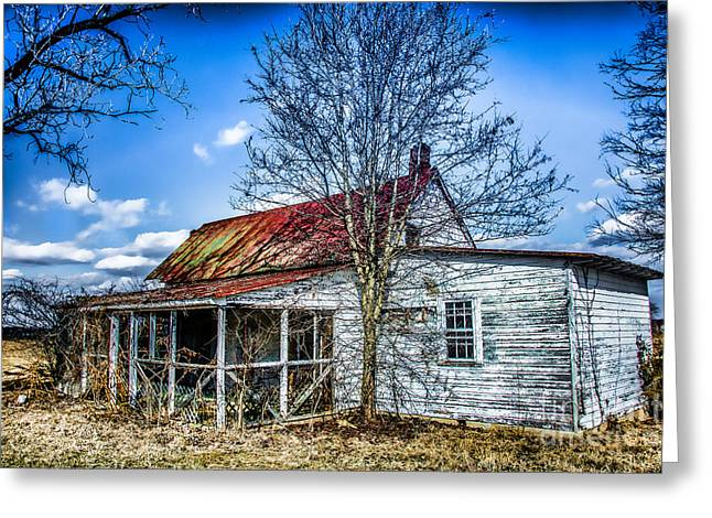 Tin Roof Greeting Cards - Old Farm House With Screened Porch Greeting Card by Kathy Liebrum Bailey